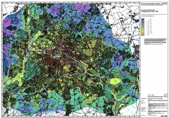 Overovanie účinnosti BAF sa sleduje na mape klimatických zón Berlíne, kde sledujú tri faktory: teplotu vzduchu, vlhkosť vzduchu, vlhkost pôdy. Zdroj: http://www.grabs-eu.org/membersArea/files/berlin.pdf