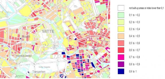 Mapa zastavaného územia overuje priepustnosť povrchov vpercentách aznázorňuje aj rôzne funkčné využitie, zdroj: http://www.grabs-eu.org/membersArea/files/berlin.pdf